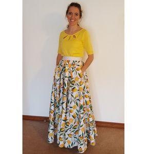 Designer Boutique Lemmon Drop Pocket Maxi Skirt